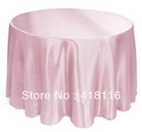 "Free shipping 10 pcs/lot 108"" pink tablecloth  satin round wedding tablecloth"