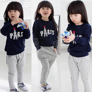 2013 spring girls clothing baby child sweatshirt set tz-0538