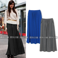 2013 spring new arrival, free shipping,occident knitted all-match vintage solid color pleated half-length skirt, retro skirts