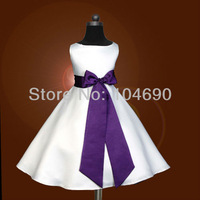 free ship,custom,cheap,bowknot,purple sash,Pageant Party,flower girls dress,Princess skirt,white