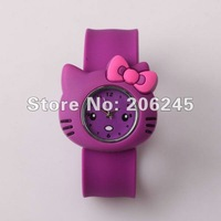 (10pcs lot) Cute Cat Silicone Cartoon Children Watch Quartz Slap Gift Watches