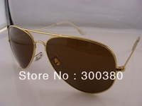 Brand Mens Womens Metal Classic Sunglasses Designer Glasses Gold/Brown 58mm Lens