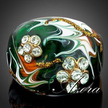 Азора уникальный дизайн 18 К настоящее позолоченный цветок Stellux австрийский хрусталь картина маслом картина кольцо TR0054