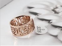 Min order $15(mix order)18k gold plated titanium steel camellia hollow rose ring