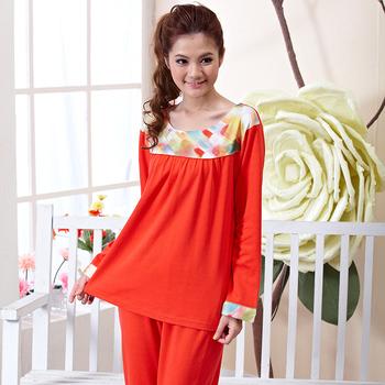 Lounge elegant fashion sleepwear long sleeve length pants set at home casual comfortable female