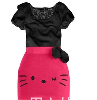 QZ-305,5 sets/lot 2013 New arrive baby lace dress suit hello kitty girl bow tight dress summer children clothing set wholesale