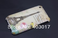 MOQ 1PC new fashion embossed Paris Eiffel Tower Plastic Hard back case cover for iPhone 3gs iphone 3g
