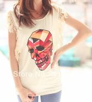 Женская футболка 2013 new fashion Loose printed dew shoulder medium style short sleeve T-shirt