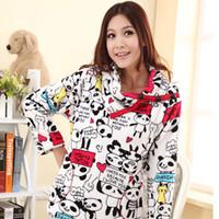 free shipping Autumn and winter coral fleece sleepwear female thickening thermal cartoon panda lounge set