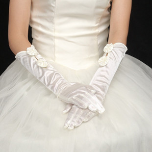 Elbow length Fingertips vory White Satin Wedding gloves bridal gloves(China (Mainland))