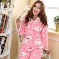 free shipping Sleepwear female long-sleeve cartoon coral fleece sleepwear lounge set twinset
