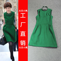 Desinger 2013 fashion spring women's elegant brief slim sleeveless green  dress for women sexy club wear