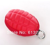 New Keychain Hand Grenade Shaped Style Zippered Case Coin Pouch Bag Purse Wallet key wallet holder 2pieces