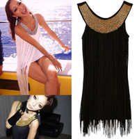 Desinger 2012 spring and summer gold sequin long tassel vest  dress 2 for women sexy club wear