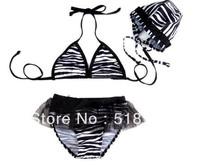 Free Shipping- Girl Swimwear kids Black stripe Swimsuit split bathing bikini swimwear+hat Beachwear