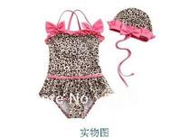 Free Shipping Wholesale - Girl Swimwear Kids braces Leopard Swimwears jump Swimwear bowknot Swimwears+hat Beachwear