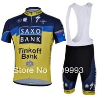 Fast Shippig,2013 New Arrival Saxobank Cycling Jersey+Bib Short Set/Racing Jackets/Cycle Wear/Biking Gear/Sport Cloth