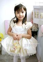 children girl princess lace dress beige color girl's dresses size 80 90 100 110 4pcs/lot