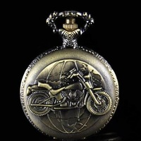 Free shipping Vintage Style Motorcycle Analog Bronze Clock Necklace Quartz Pocket Watch Girl Boy Gift