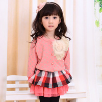 Clothing outerwear spring and autumn polka dot female child cardigan baby top 2012