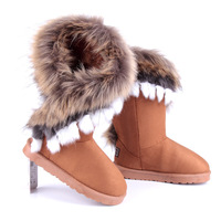 Winter medium-leg boots women's fox fur faux snow boots warm shoes