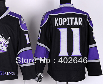 Ice hockey LA kings #11 Anze Kopitar black third jerseys, with CROWN in front, high quality
