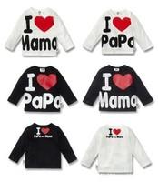 Discout Free shipping Baby clothes, i love papa mama T-Shirt boy & girl Long-Sleeve Shirt,Infants & Toddlers T shirt
