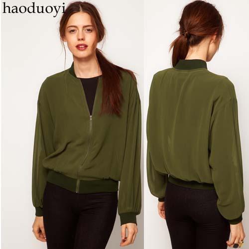 Army Green satin chiffon rib knitting cuff zipper sweater outerwear top spring and autumn(China (Mainland))