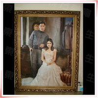 Customized Portrait Painting, Portrait with Wedding dress, The Handmade Wedding portrait for gift