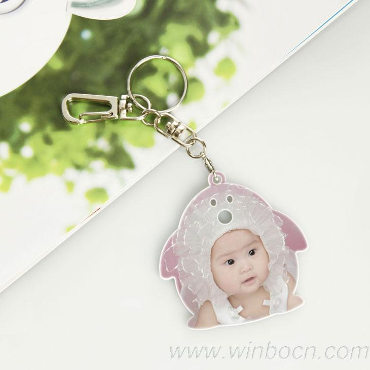 New!Free shipping!!The baby head shape key chain the cute key ring imprint your baby image(China (Mainland))
