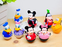Free shipping PVC Anime Mickey Mouse Donald Duck Tumbler Figure Toys Wholesale(8pcs/set)