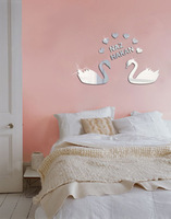 lover swan mirror home decor sofa and tv background decoration 1MM 3d diy thick wall sticker