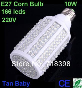 free shipping 5pcs x 220V 10W E27 166 LED Bulb Light Corn Light warm white/ white Energy Saving LED Lamp Drop  RoHS CE