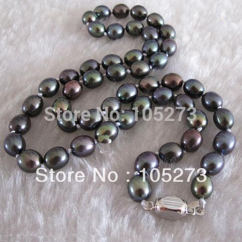 Atacado pérola jóias 18 '' 6 - 7 MM pavão verde arroz água doce pérola colar moda de lady partido jóias nova grátis frete(China (Mainland))