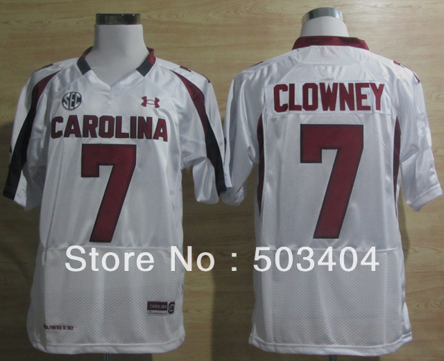 South Carolina #7 Javedeon Clowney White Cool Color NCAA Football Jersey Jerseys Best Sport Mix Order Size:48-56(China (Mainland))