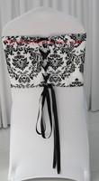 white and black flocking taffeta chair cover sash also call elegance damask corset chair sash