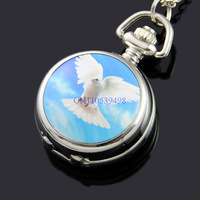 FREE SHIPPING  Fashion Stainless Mirror Flying Dove Sky Women Ladies Silver Tone  Necklace  Pendant discount wholesale watches