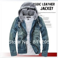 Male denim jacket outerwear 2013 spring men's clothing denim coat slim with a hood coat