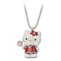 Wholesale Austrian Crystal Hello Kitty Lollipop Pendant Necklace Free Shipping