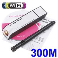 Mini USB 802.11b/g/n 300M Wireless LAN Wifi Adapter with Detachable Antenna Network Card Free Shipping Wholesale