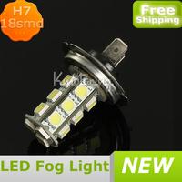White LED 18SMD 5050 Bulbs H7 Car FogLight Lamp Daytime Light Bulb Car DRL For Motor Trucks Auto Car,led fog light kit FREE SHIP