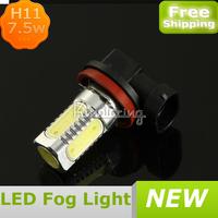 H11 High Power 6000K Xenon White 7.5W SMD LED Head Fog Driving Light Bulb,High Power Auto Led Fog Light With FREE SHIPPING