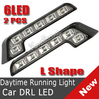 2X White L Shape 12V 6LED car DRL Daytime Running Lights Fog Lamp Front Lamp NEW