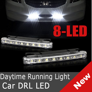 "2 x ""E4"" 8 LED Universal DRL 12V Daytime Running Day Driving Bulb Kit Car Fog Light Strip"