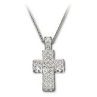 Wholesale Austrian Rhinestone Crystal Glittering Cross Pendant Necklace with Rhodium-plated Chain Free Shipping