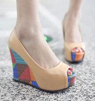 2014 fish toe women's platform shoes  comfort wedges sandals shoes high platform pumps free shipping