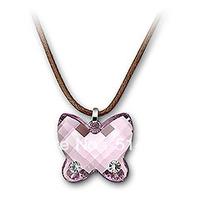 Wholesale Austrian Rhinestone Crystal Butterfly Light Amethyst Mini Pendant Necklace Free Shipping