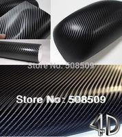 Hot selling Black 4D carbon fiber vinyl wrap film 1.52x30m air free bubbles  car sticker