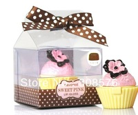 free shipping  different cute cupcake gift set  fruit flavor lip gloss