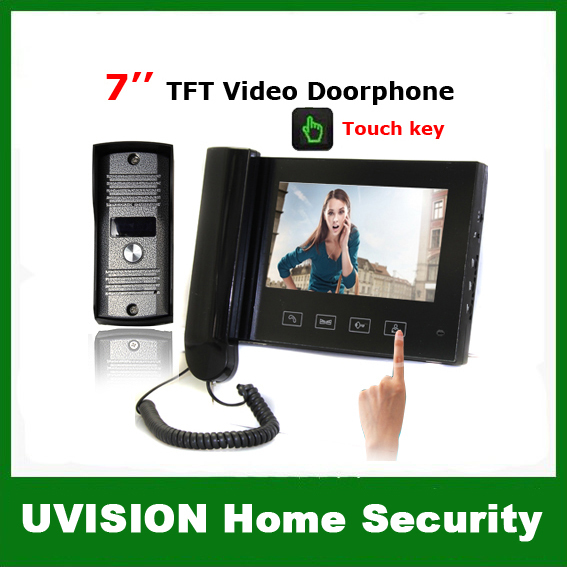 Home Security CCTV 7 inch TFT Monitor LCD Color Video Doorphone Intercom with Touch Key free shipping(China (Mainland))